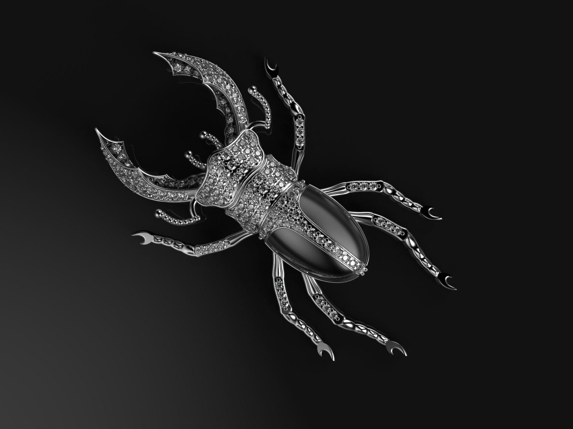 Beetle brooch with enamel