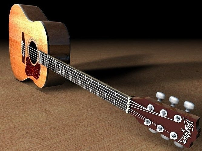 washburn d10 acoustic guitar 3d model obj 3ds fbx c4d dxf 1