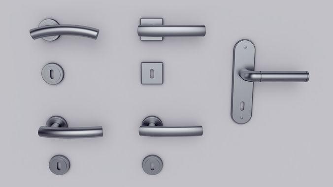 Door handle set 3D model & 3D Door handle set | CGTrader