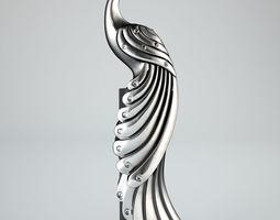 chrome 3D peacock