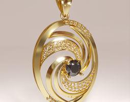 3d printable Windmill swirl pendant necklace