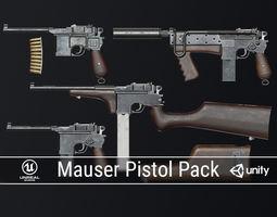 PBR Mauser Pistol Pack 3D asset realtime