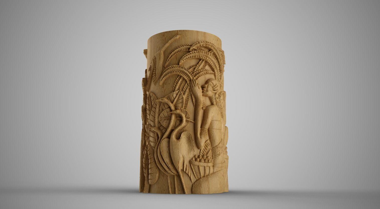 Hieroglyphic relief Cylinder Box