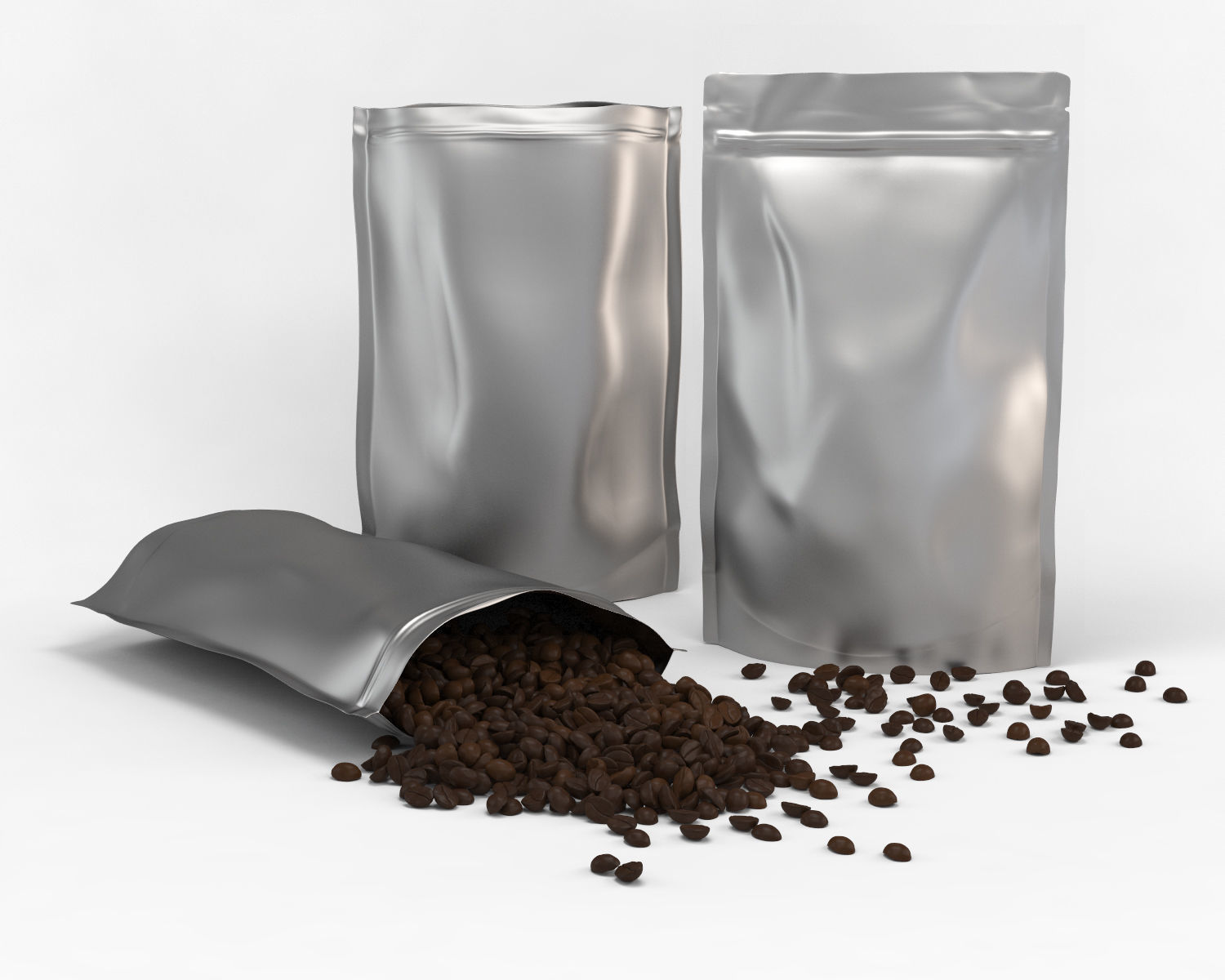Coffee plastic pouch and scattered coffee beans