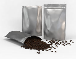 3D model Coffee plastic pouch and scattered coffee beans