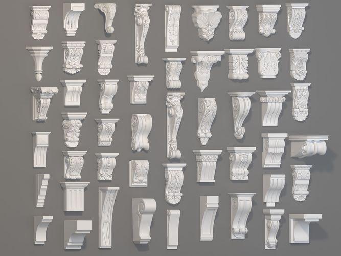 corbels collection -1 - 51 pieces 3d model max obj mtl fbx stl 1