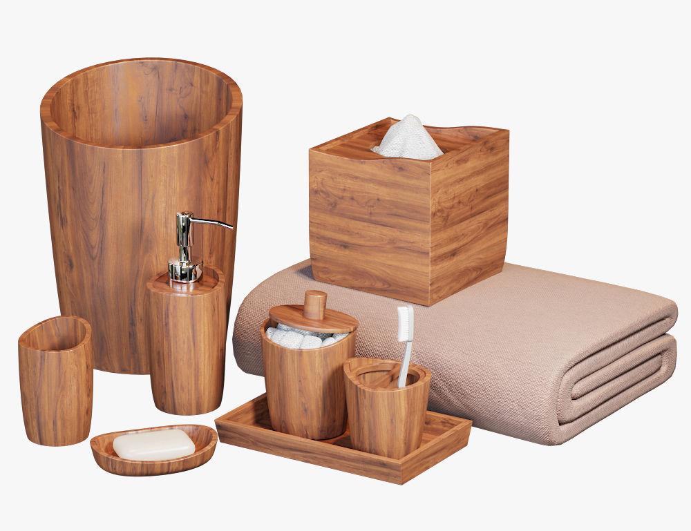 Wood Bathroom Accessories | Acacia Handcrafted Wood Bath Accessories 3d Model