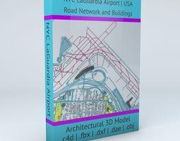 3D New York LaGuardia LGA Airport Roads and Buildings