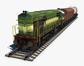 Cargo Train 3D asset low-poly