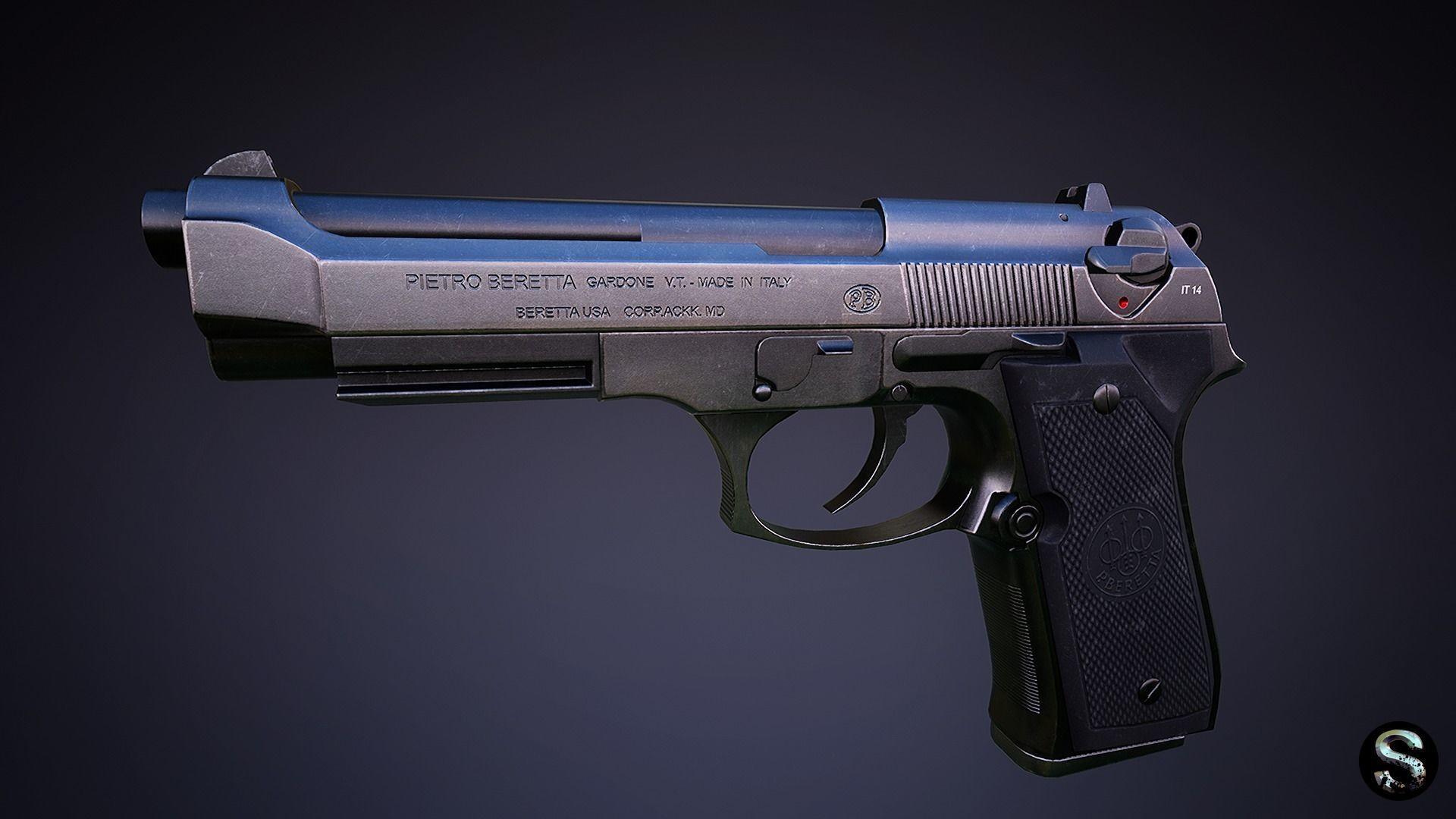 Beretta 92 Low-poly   3D model