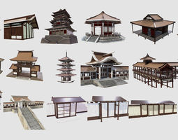 PBR Asian Buildings Collection 3D model