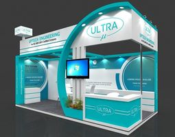 Exhibition stall 3d model 6x3 mtr 2 sides open 2