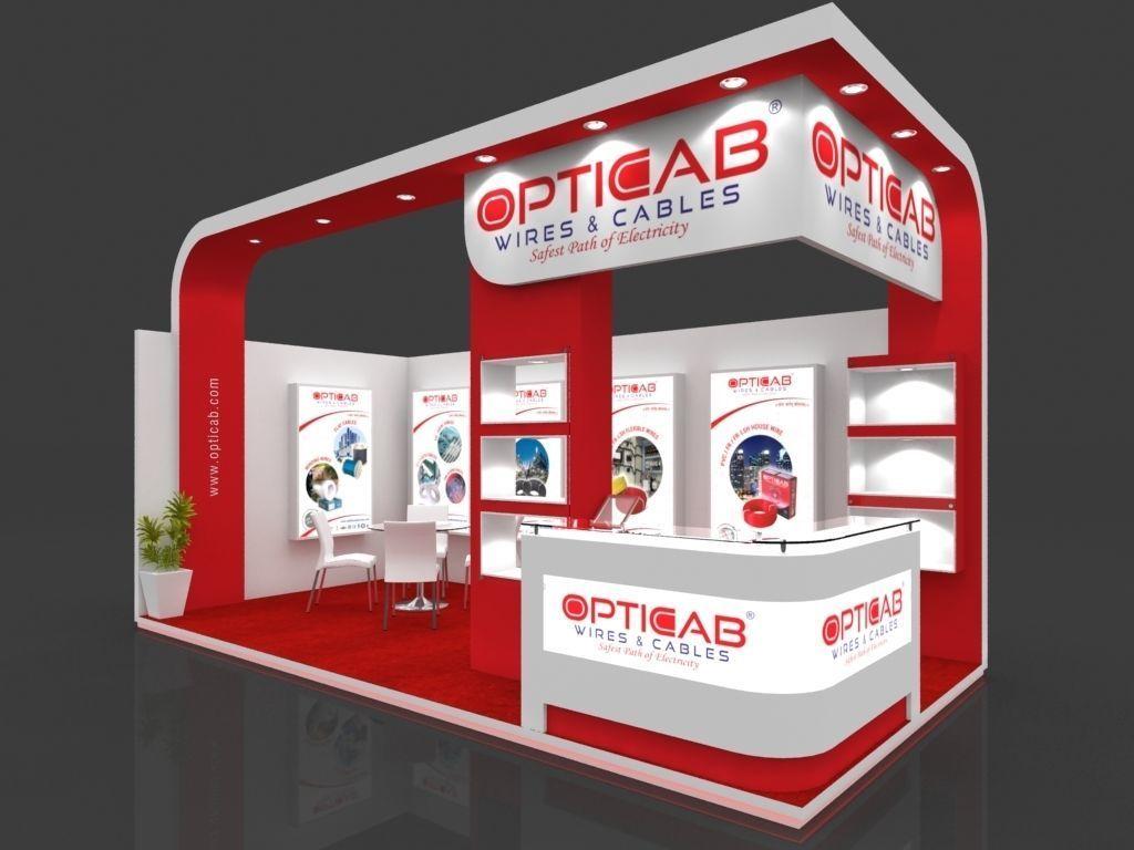 Exhibition Stall Arrangements : Exhibition stall 3d model 6x3 mtr 2 sides open opticab 1