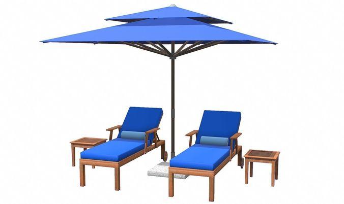 Lounge Chair And Umbrella 3d Model Max Obj 3ds Fbx C4d Tbscene ...