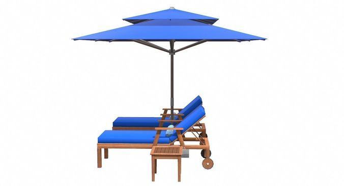 Lounge Chair And Umbrella 3d Model Max Obj 3ds Fbx C4d Tbscene 14