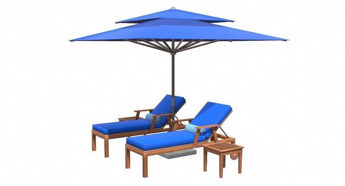 Lounge Chair And Umbrella 3d Model Max Obj 3ds Fbx C4d Tbscene 15