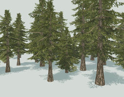 Pinetree lowpoly 3D model realtime