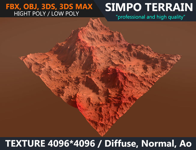 3d model low poly realistic mars terrain 03 game ready