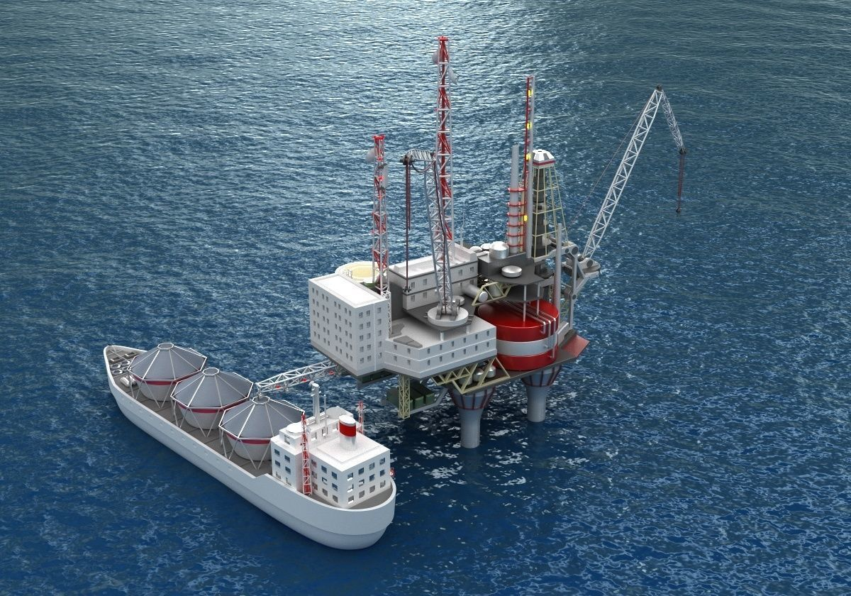 Offshore oil rig drilling platform and tanker