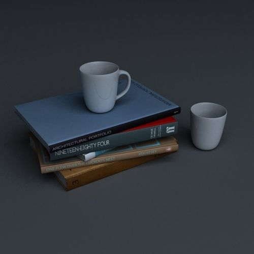 stack of books and two mugs 3d model max obj mtl 1