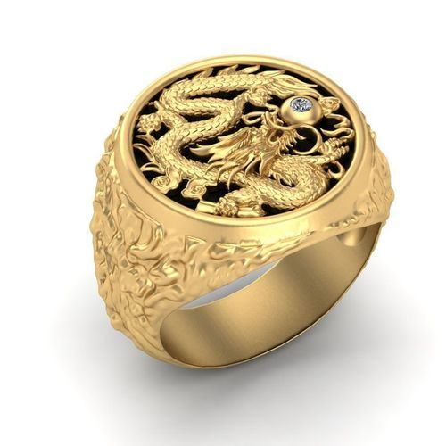 3D Printable Model Mens Ring With A Dragon