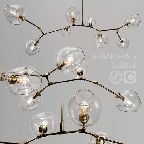 branching bubble 8 lamps by lindsey adelman clear gold 3d model max obj mtl fbx 1