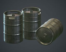 Stainless Steel Beer Keg PBR Game Ready 3D asset