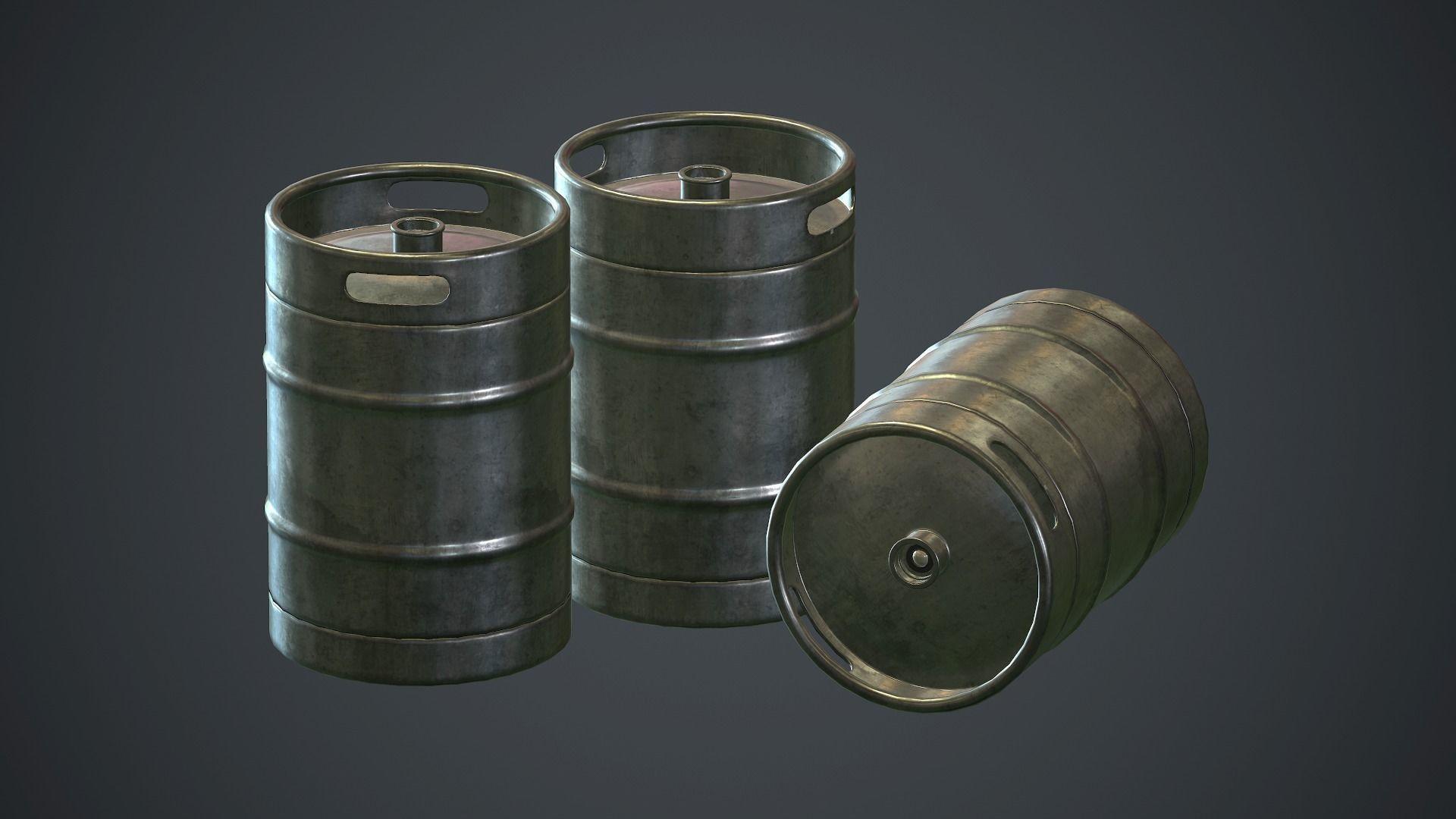 Stainless Steel Beer Keg PBR Game Ready