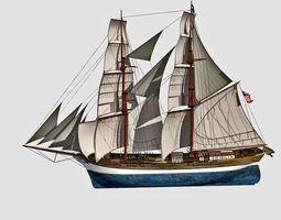 3D model Brig Ship J W Parker 1874 Brigantino Toscano