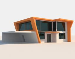 Two Storey High Tech House 3D asset
