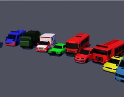 3D model game-ready Low poly vehicles