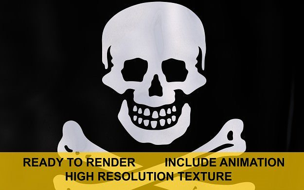 jolly roger 3d flag 3d model ma mb 1