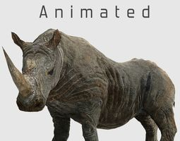 Southern White African Rhino 3D asset