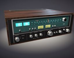 old stereo receiver PBR 3d