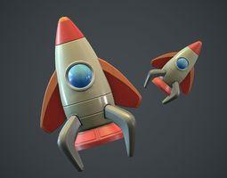 Cartoon Rocket PBR Game Ready 3D asset
