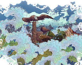 3D model Animated Paralax Landscape USA Scene
