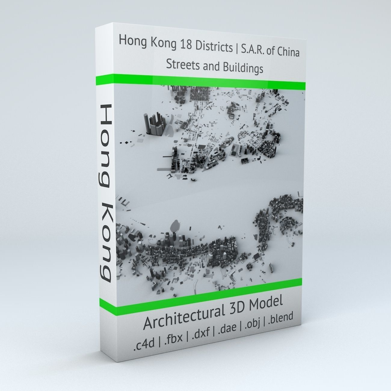 Hong Kong 18 Districts Streets and Buildings
