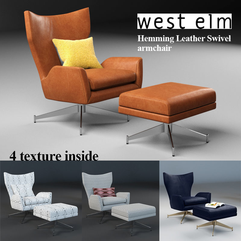 3d West Elm Hemming Leather Swivel Armchair Cgtrader