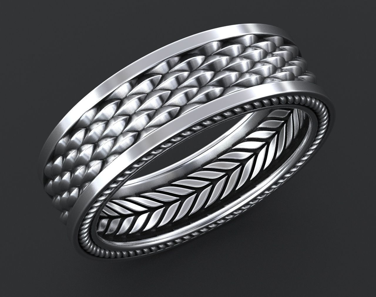 Stylish Ring with a Scale of the Dragon 342