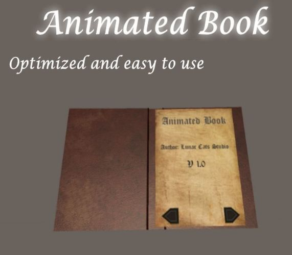 animated book 3d model low-poly rigged animated unitypackage prefab 1