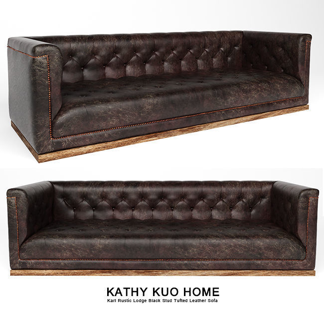 Surprising Karl Rustic Lodge Black Stud Tufted Leather Sofa 3D Model Download Free Architecture Designs Grimeyleaguecom