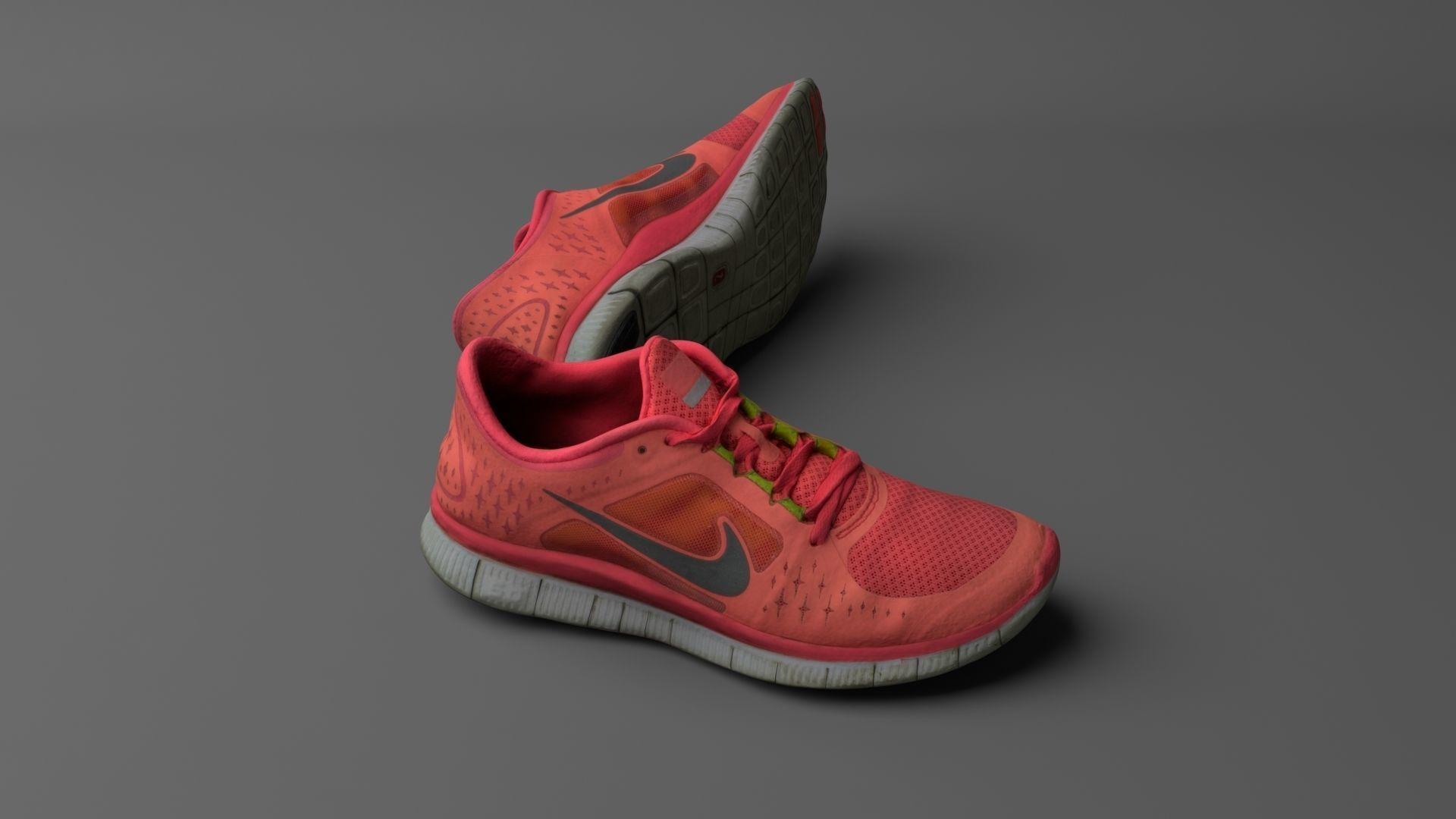 cf1b805ce956 worn nike free run 3 sneaker shoe low poly 3d model 3d model obj mtl fbx ...