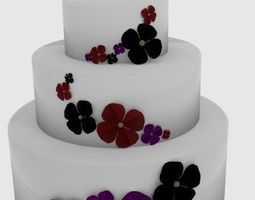 Cake with flowers 3D model