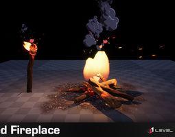 Stylized Fireplace PRO 3D asset