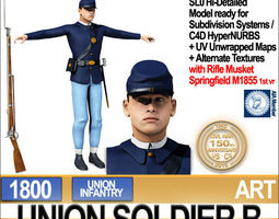 Civil War Union Soldier B Infantry 3D