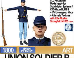 Civil War Union Soldier B Infantry 3D Model