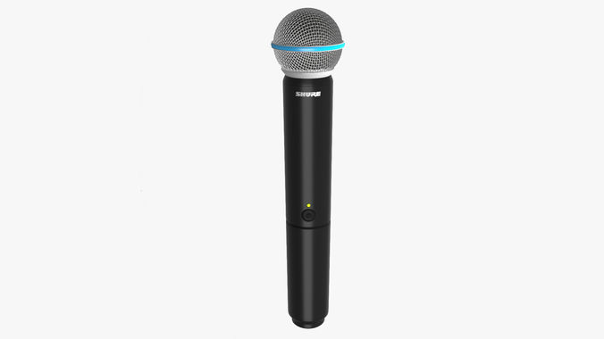 microphone shure beta 58a wireless 3d model low-poly obj mtl fbx ma mb 1