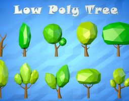 Low Poly Cartoon Tree Pack 3D model