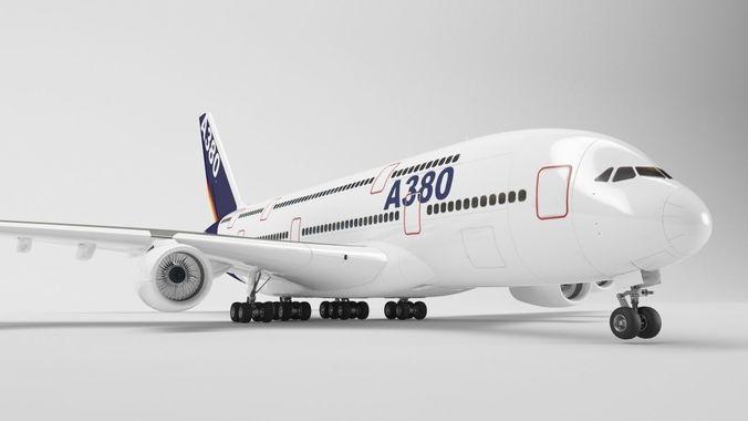 airbus a380 - element 3d 3d model max obj mtl 3ds fbx c4d 1