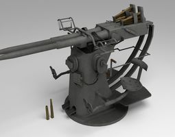 Low poly Anti aircraft gun 3D asset